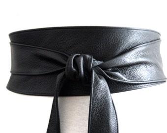 Black Obi Belt, Leather Belt, Waist Tie belt,  Leather Obi Belt, Plus Sizes,  Black Belt, Black Wrap Belt