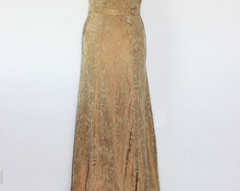 Gold lame evening gown 1940s