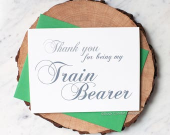 Thank You For Being My Train Bearer Card | Wedding Day Stationery | Card for Train Bearer | To My Train Bearer | Wedding Stationery | Dress