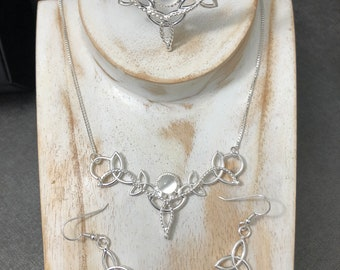 Celtic Knot Bridal Jewelry Set with a Tiara, Necklace, Earrings, Bracelet Cuff, Celtic Boho Bridal Sets, Victorian Celtic Dangle Earrings