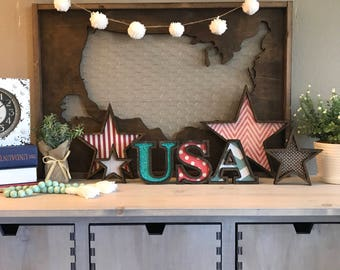 Large Wood map cutout, Wooden USA map, Stained wood map travel theme decor, office wall decor statement piece, Forth of July Decor