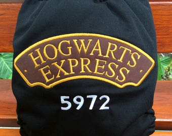Harry Potter Inspired Hogwarts Express Embroidery One Size All In One  cloth diapers