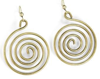 Geometric Earrings, Spiral Earrings, , Hoop Earrings, Swirl Earrings, Wire Earrings, Minimal Earrings, Boho Earrings, Gypsy Earrings E1363