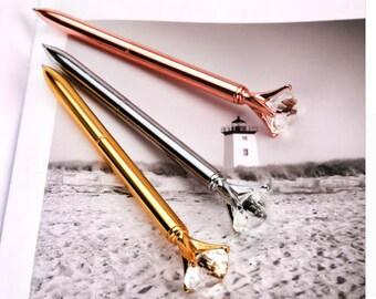 Rose gold diamond pen. Also available in gold en silver.