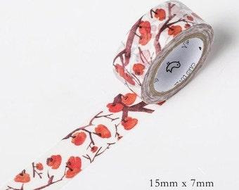 Winter persimmon Japanese Washi Tape-Season' Color,Masking Tape,Planner Sticker,Sticker,Journal,Decorative Sticker
