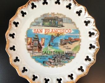 Mid Century San Francisco Souvenir Plate, 1960's California Souvenir, Mid Century California Dish, Vintage San Francisco Dish Made By Efcco