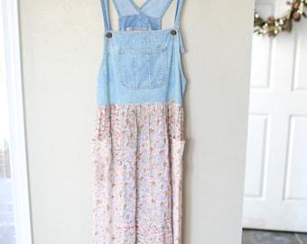 vintage pink loberty floral denim jumper overall dress