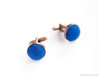 Copper blue cufflinks Unusual cuff links Set of two deep blue handmade wool felt cufflinks 7th wedding anniversary gift