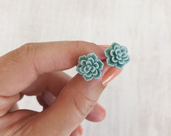 Succulent Earring Studs // Resin Cabochon Succulent Earrings // Teal + Grey Earrings // Bridesmaid Jewelry // Wedding Gift