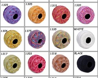 Choose 1 Variegated / Multi Color Crochet Cotton Thread Knitting Yarn 100 Grams Each Ball Size 10