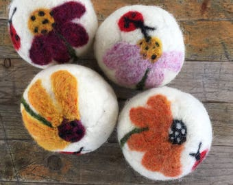 Dryer Balls - Wool Coneflower and Ladybug