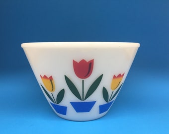 Fire King Tulip Bowl, 6 1/2 Inches, Fire King Ivory, Fire King Splash Proof Bowl