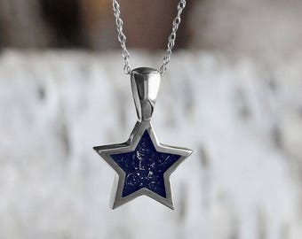 Navy Blue Stardust Pendant, Sterling Silver Star Pendant With Rope Chain Necklace For Her, Handmade Meteorite Jewelry
