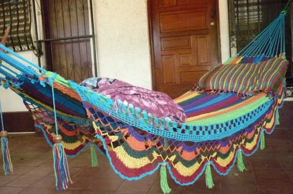 Hammocks Beautiful Turquoise Double Hammock Hand Woven