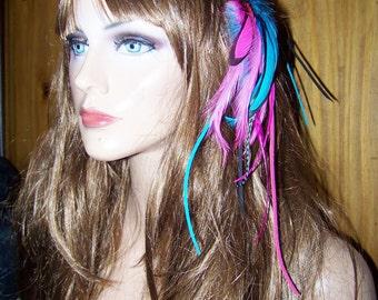 Bohemian Feather Headband, Headband, Boho Chic, Suede Handband, Colorful Headband, pink feather headband, blue feather headband,hair