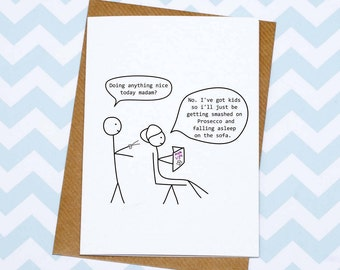 Funny Mum Card - Hurrah For Gin Cartoon - Mothers Day Card - Hairdressers Card