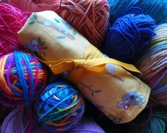 Fabric Crochet Hook Case with 9 crochet hooks included. Crochet Hook Roll. Crochet Hook Holder.
