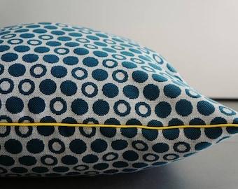 Big Blue polka dot pillow cover / yellow piping