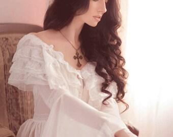 Boudoir Dress,Boho wedding dress,Crochet Lace Wedding Dress,White off corset dress