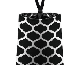 Car Trash Bag // Auto Trash Bag // Car Accessories // Car Litter Bag // Car Garbage Bag - Moroccan Trellis - Black and White
