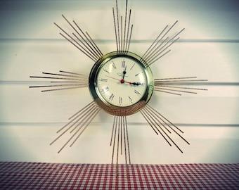 Vintage Gold Ingraham Starburst Wall Clock in Great Working Condition......