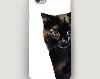 Peeping Cat iPhone 6 Case, Cat iPhone 7 Plus Case, iPhone 5S Case, iPhone 7 Cover, Cool Phone Case, Black Cat Case iPhone, Gift Cat Lovers