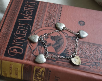 REDUCED  Antique Sterling Silver Puffy Heart Charm Bracelet, Curb link Charm Bracelet with Etched Heart Charms, jewelry gift for her
