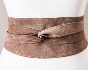 Taupe Beige Suede Obi Belt | Suede Belt | Waist tie belt | Plus Size Belts | corset belt