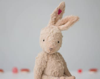 Personalized Pink Mohair Rabbit Heart Embroidery 7 Inches, Stuffed Animal, Plush Bunny, Handmade Toy, Gift For Her, Ready To Ship