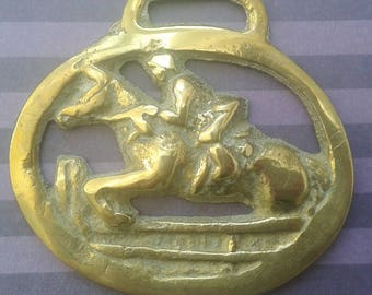 Brass horses pendant, jumping horse and rider