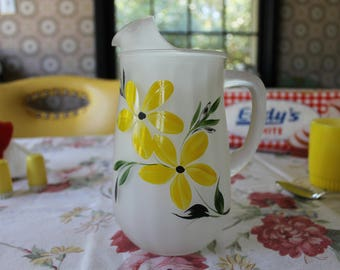 Satin Pitcher with Yellow Flowers, Frosted Pitcher with Yellow Flowers, Small Satin Pitcher, Retro Pitcher, Satin Juice Pitcher with Daisies