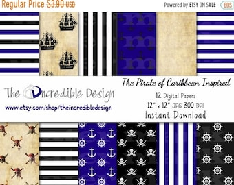 ON SALE Pirate Inspired digital paper pack for scrapbooking, Making Cards, Tags and Invitations, Instant Download
