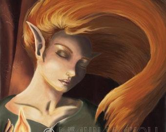 Fantasy ART Print Fairy Art Elf Fire Fairy Magic Elf Portrait Flame Pagan Gothic Art