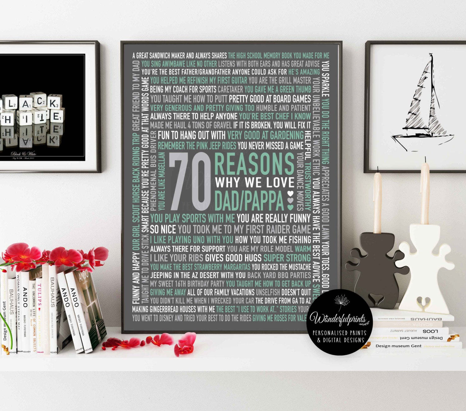 70 REASONS We Love Dad / 70th Birthday Gift / For HIM / For