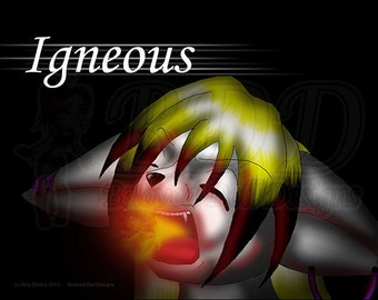 Anthro Fox Girl Art Print 5x7 and 8.5x11 #547 DJ Fox Igneous Fire Breathing