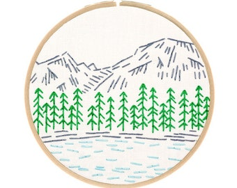 ROCKY MOUNTAINS embroidery kit - embroidery hoop art, national parks, travel souvenir, hand embroidery kit by StudioMME