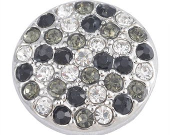 x 1 black/white/gray 20 mm rhinestone pave round pression(pour bijoux) button