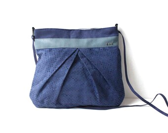 """Bag """"Penelope"""" Blue Suede and faux leather light blue"""