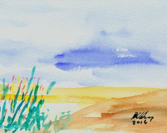 """Small watercolor """"on the beach 2"""""""