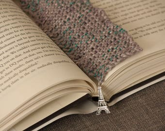 Grey/Lilac Knitted Bookmark With Paris Charm