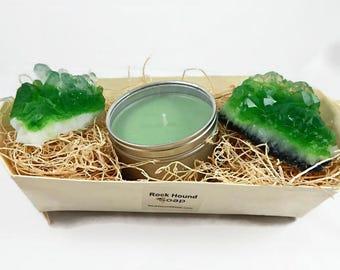 Emerald Quartz Crystal Soap & Candle Gift Set