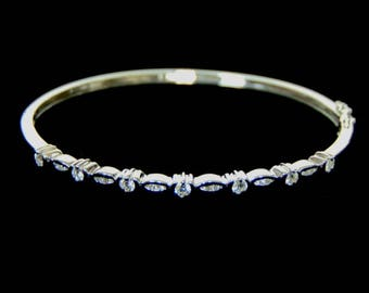 Womens Vintage Estate 18K White Gold Bracelet w/ Diamonds 9.8g E1113