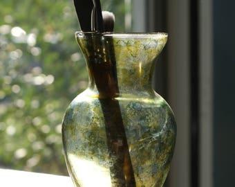 Flower Holder Vase, Colorful Glass Vase, Kitchen Glass Vase, Coffee Table Centerpiece, Stained Glass Vase, Window Vase, Colorful Vase