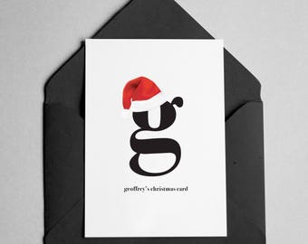 Personalized Christmas Card - Contemporary Minimalist - Name & Letter on Front