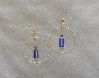 Rolled Gold Hoop Earrings with Lapis Lazuli Drops - g0505e02
