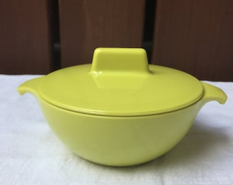 1950s Melamine Watertown Lifetime Ware Lime Green Sugar Bowl with Lid