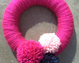 Bright Pink Pom Pom Wreath