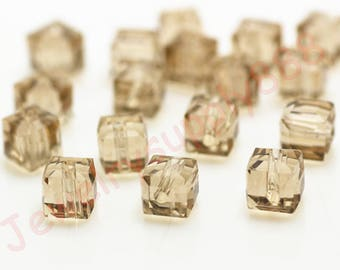 Champagne Color 43 Square Cube Crystal Beads,Loose Jewelry cube Beads ,Square crystal beads Size 2mm 3mm 4mm 6mm 8mm 50 Colors U Pick