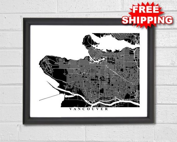 Vancouver map art map print city map black and white map like this item gumiabroncs Choice Image