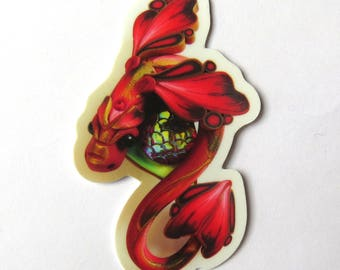 Red Dragon Sticker, Vinyl Sticker Original Artwork
